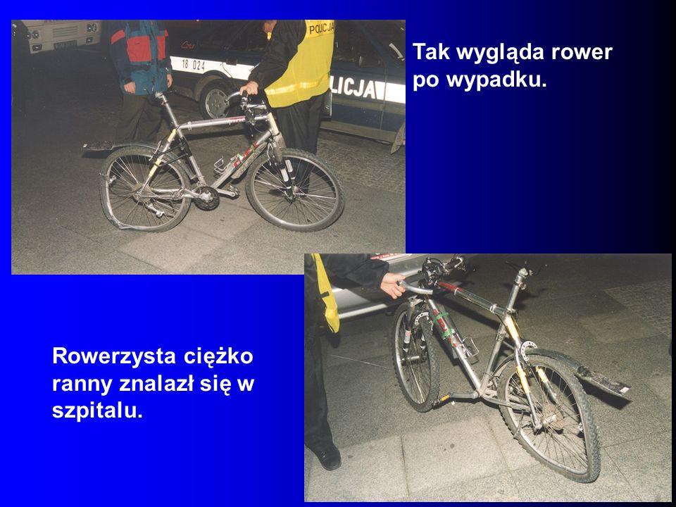 Tak wygląda rower po wypadku.