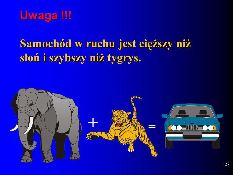 Uwaga !!! Samochód w ruchu jest cięższy niż słoń i szybszy niż tygrys.
