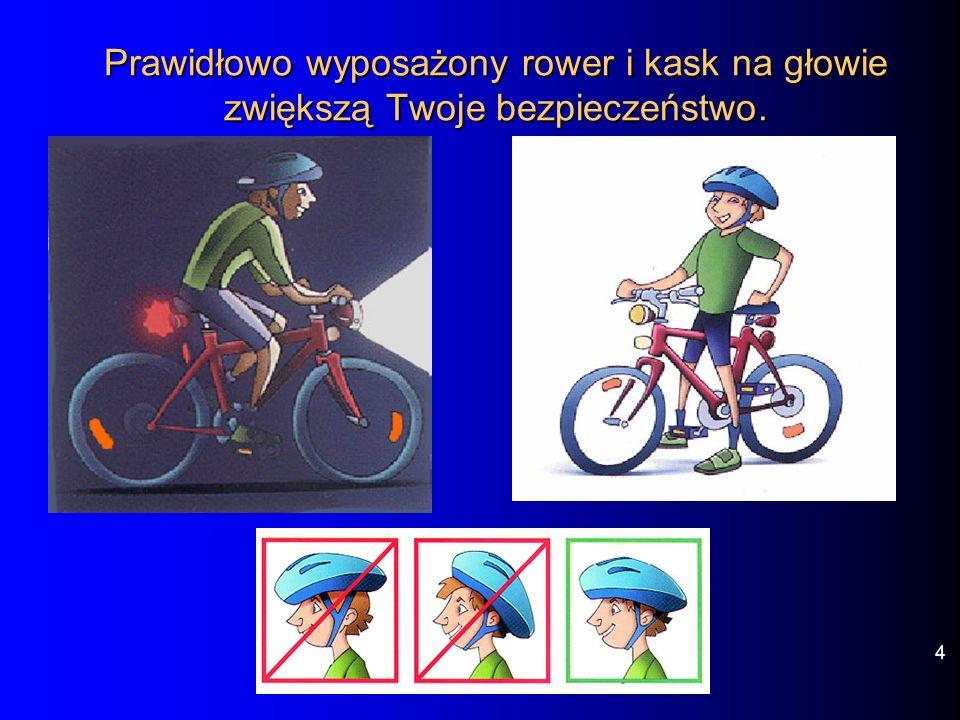 Prawidłowo wyposażony rower i kask na głowie zwiększą Twoje bezpieczeństwo.