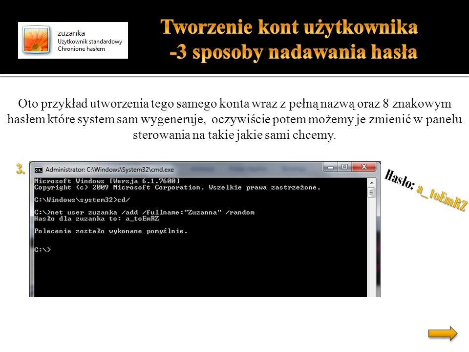 Tworzenie kont użytkownika -3 sposoby nadawania hasła