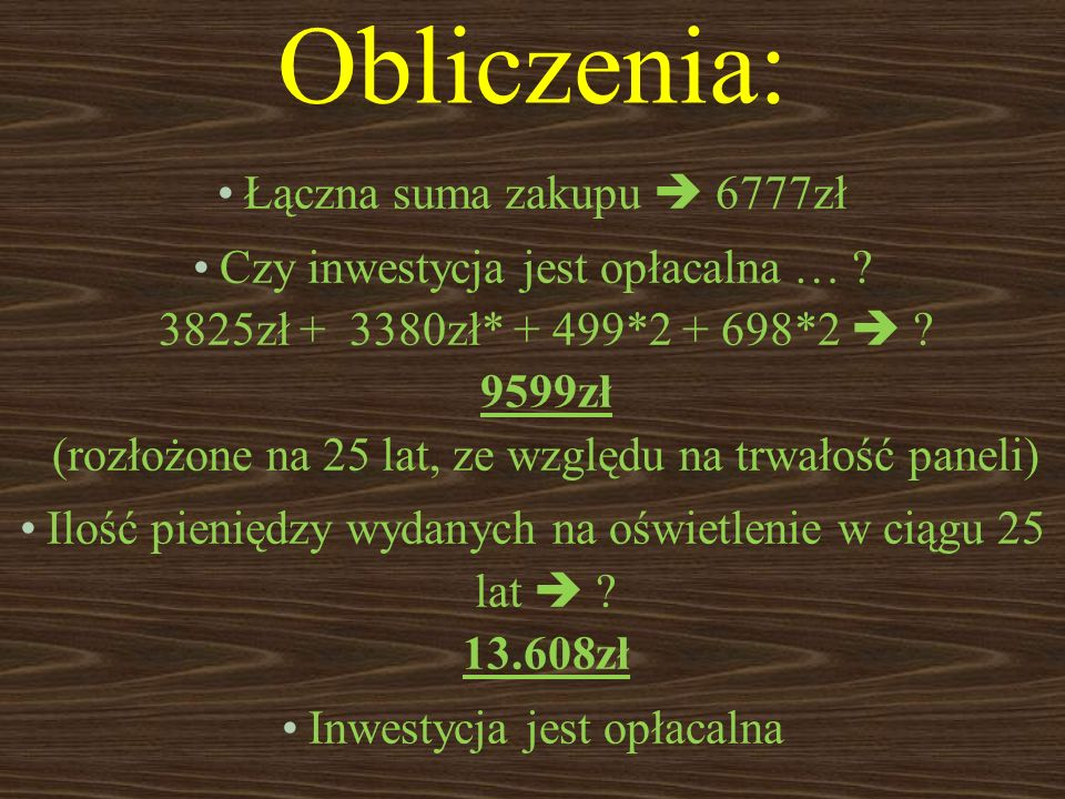 Obliczenia: Łączna suma zakupu  6777zł