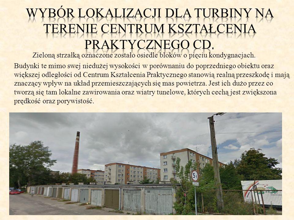 Wybór lokalizacji dla turbiny na terenie centrum kształcenia praktycznego cd.