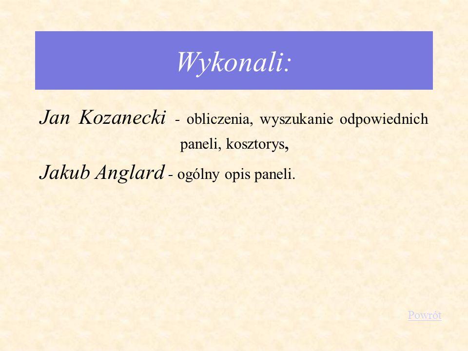 Wykonali: Jan Kozanecki - obliczenia, wyszukanie odpowiednich paneli, kosztorys, Jakub Anglard - ogólny opis paneli.