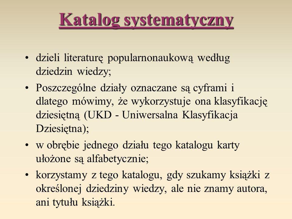 Katalog systematyczny