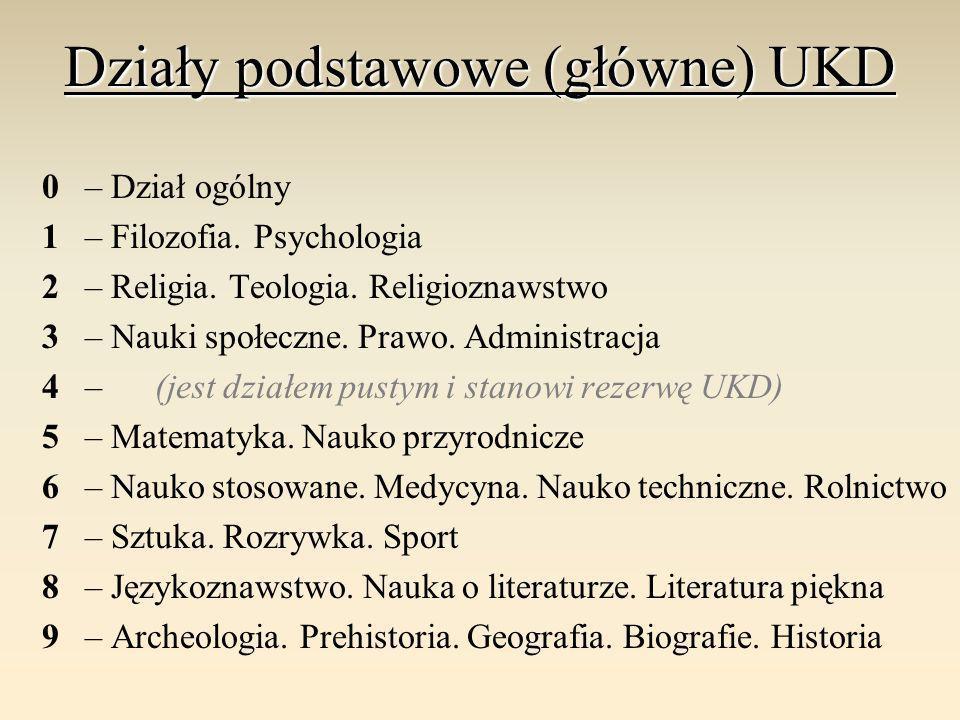 Działy podstawowe (główne) UKD