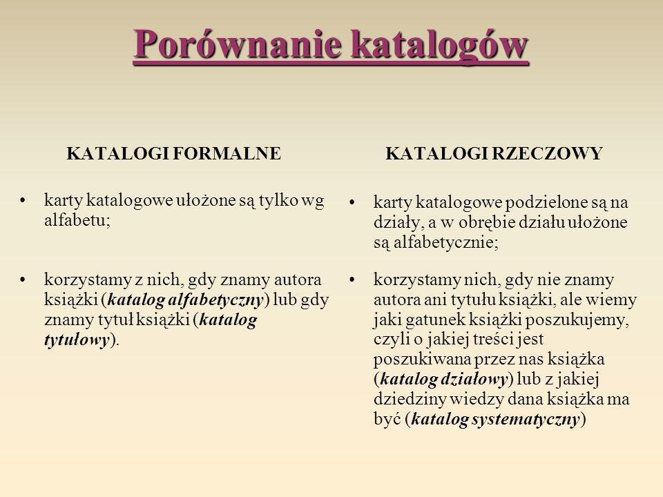 Porównanie katalogów KATALOGI FORMALNE