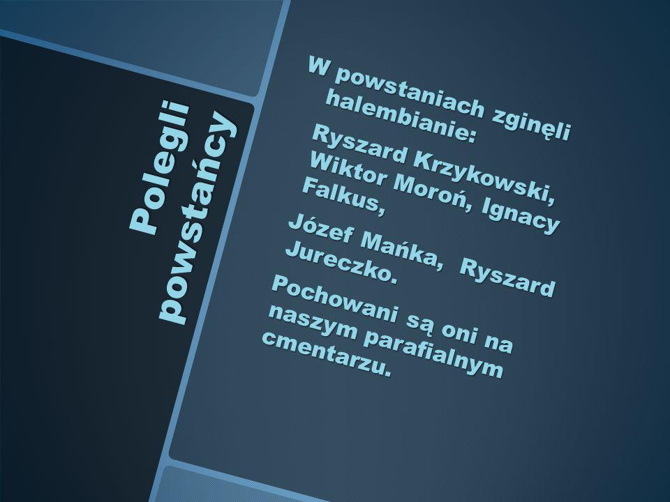 Polegli powstańcy W powstaniach zginęli halembianie: