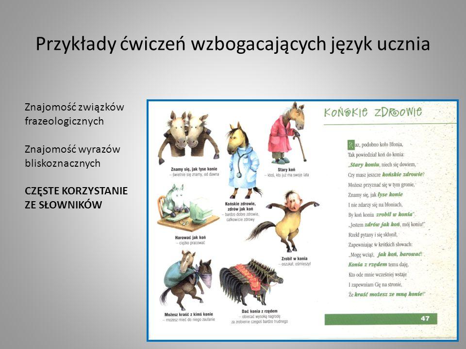 Przykłady ćwiczeń wzbogacających język ucznia