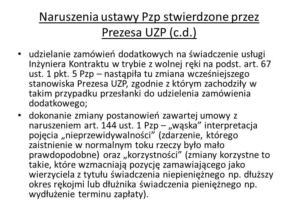 Naruszenia ustawy Pzp stwierdzone przez Prezesa UZP (c.d.)