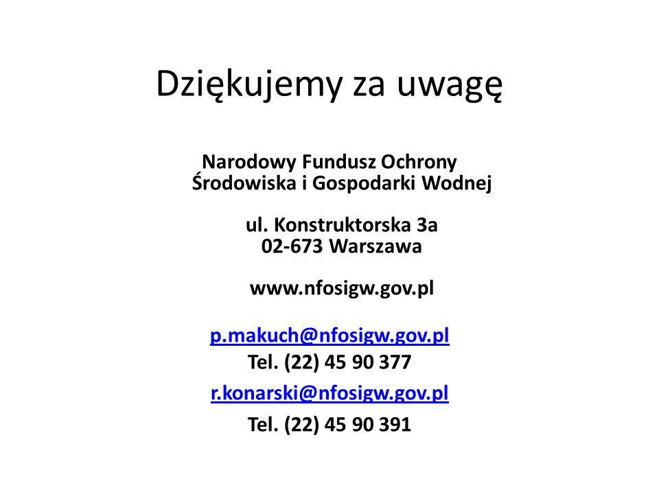 Dziękujemy za uwagę Narodowy Fundusz Ochrony Środowiska i Gospodarki Wodnej ul. Konstruktorska 3a 02-673 Warszawa www.nfosigw.gov.pl.