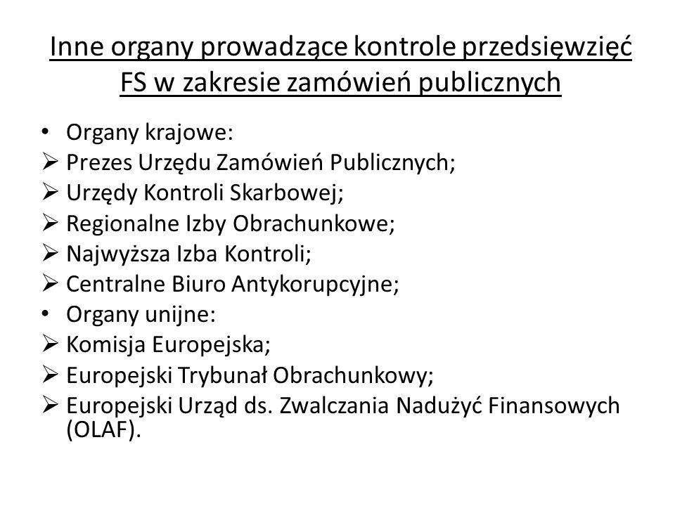 Inne organy prowadzące kontrole przedsięwzięć FS w zakresie zamówień publicznych