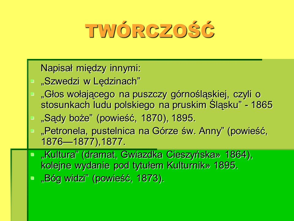 """TWÓRCZOŚĆ Napisał między innymi: """"Szwedzi w Lędzinach"""