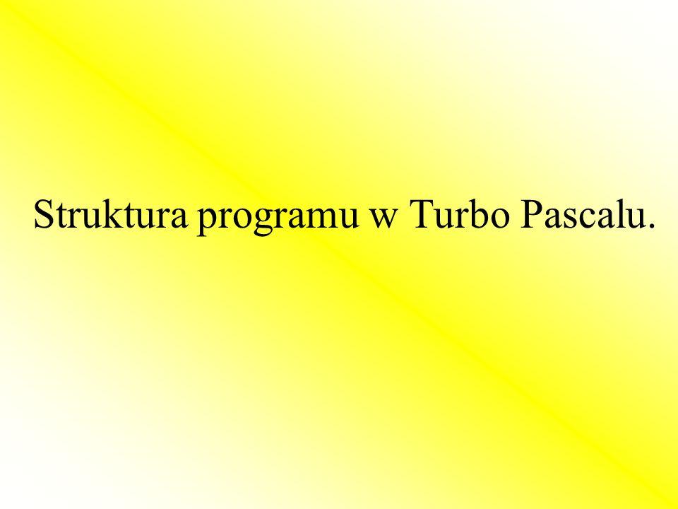 Struktura programu w Turbo Pascalu.