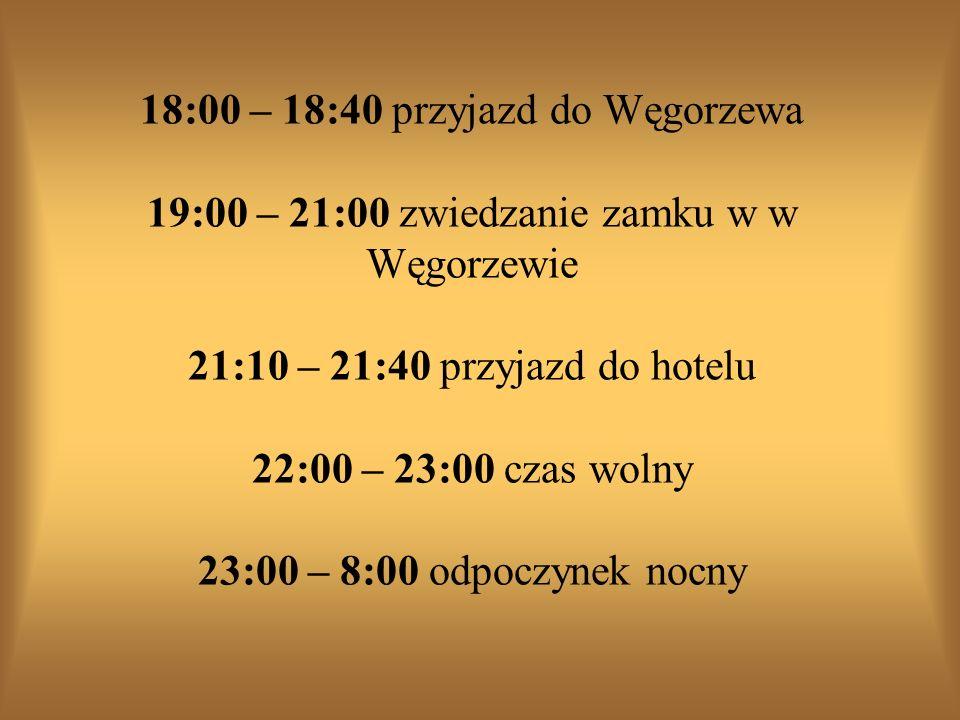 18:00 – 18:40 przyjazd do Węgorzewa 19:00 – 21:00 zwiedzanie zamku w w Węgorzewie 21:10 – 21:40 przyjazd do hotelu 22:00 – 23:00 czas wolny 23:00 – 8:00 odpoczynek nocny