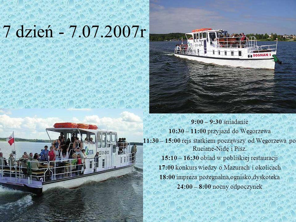 7 dzień - 7.07.2007r 9:00 – 9:30 śniadanie. 10:30 – 11:00 przyjazd do Węgorzewa.