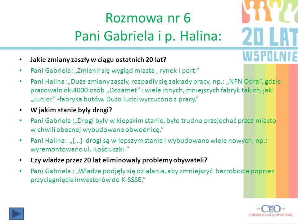 Rozmowa nr 6 Pani Gabriela i p. Halina:
