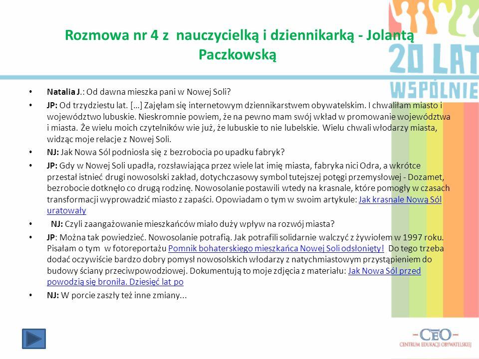 Rozmowa nr 4 z nauczycielką i dziennikarką - Jolantą Paczkowską