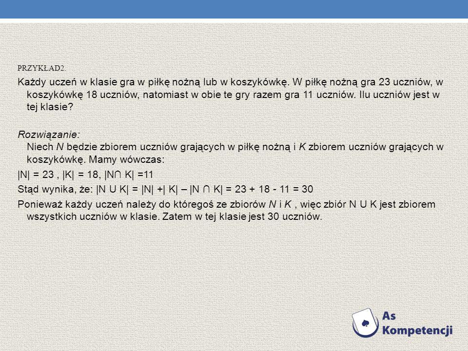 Stąd wynika, że: |N U K| = |N| +| K| – |N ∩ K| = 23 + 18 - 11 = 30