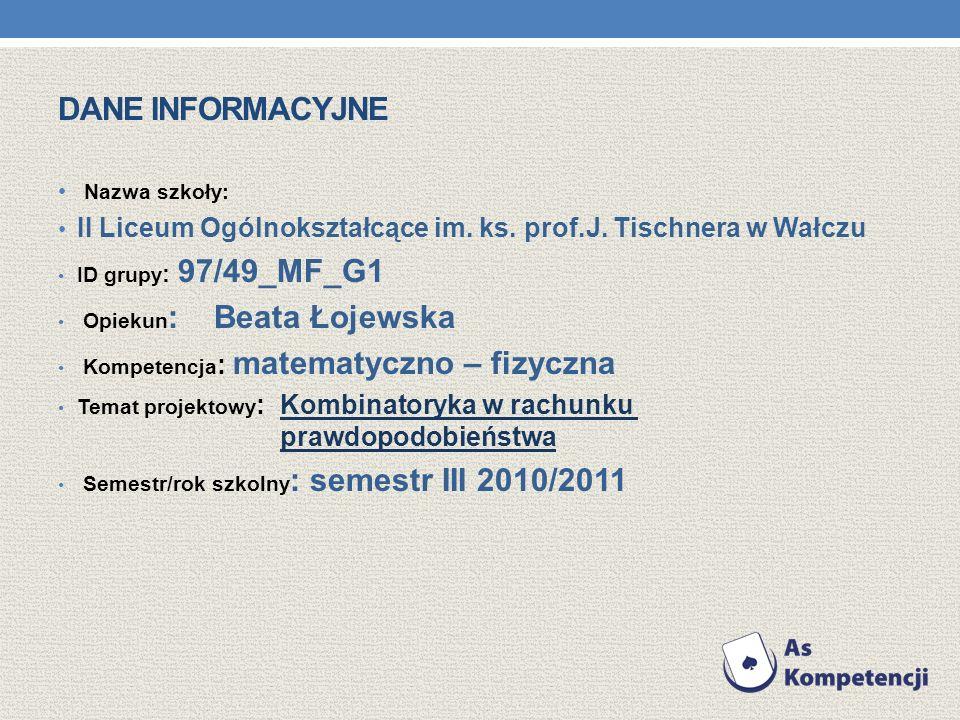 Dane informacyjne Nazwa szkoły: