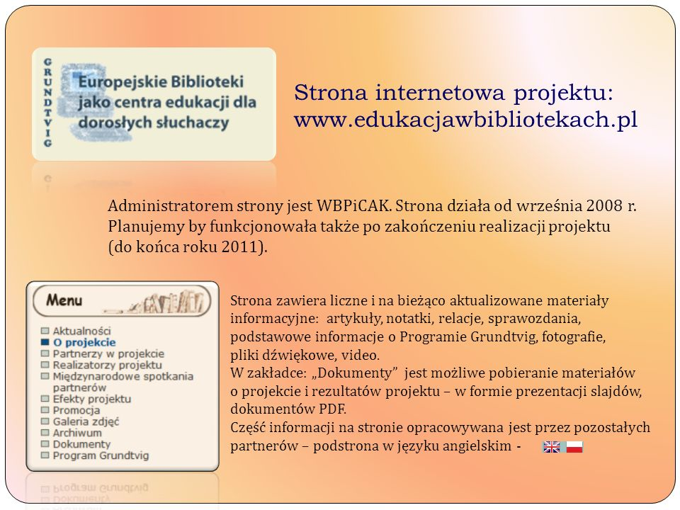Strona internetowa projektu: www.edukacjawbibliotekach.pl