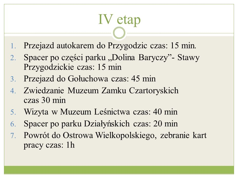 IV etap Przejazd autokarem do Przygodzic czas: 15 min.