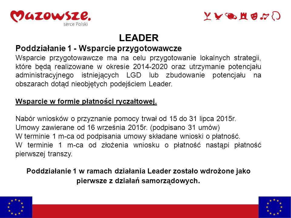 LEADER Poddziałanie 1 - Wsparcie przygotowawcze