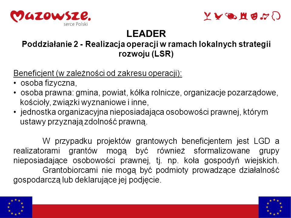 LEADER Poddziałanie 2 - Realizacja operacji w ramach lokalnych strategii rozwoju (LSR) Beneficjent (w zależności od zakresu operacji):