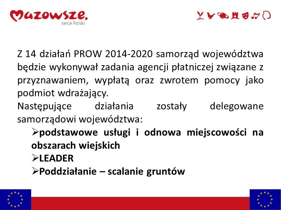 Z 14 działań PROW 2014-2020 samorząd województwa będzie wykonywał zadania agencji płatniczej związane z przyznawaniem, wypłatą oraz zwrotem pomocy jako podmiot wdrażający.