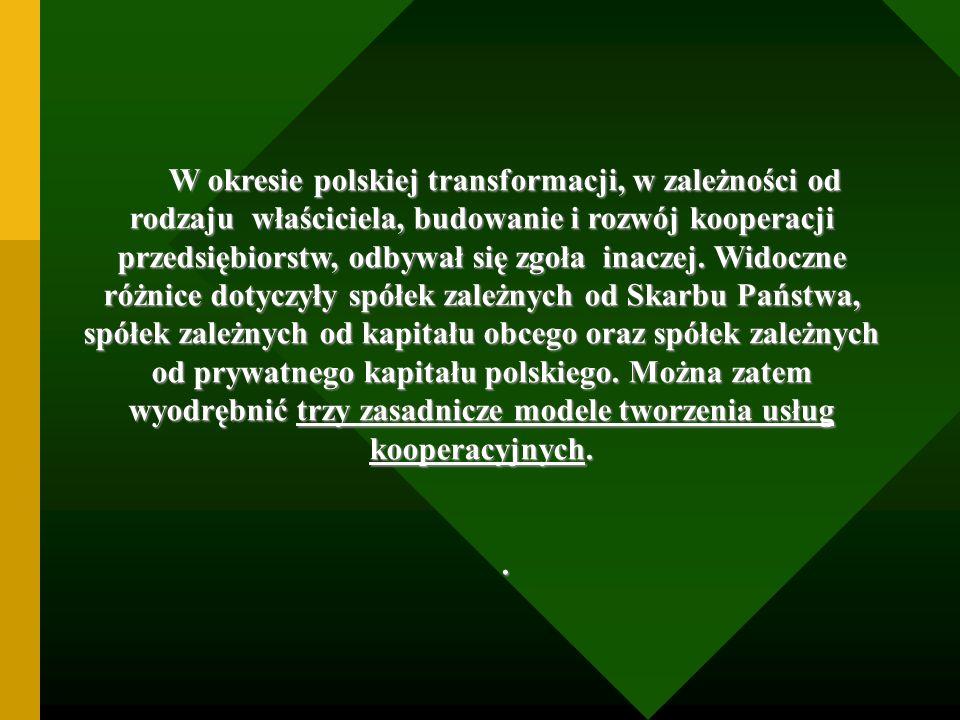 W okresie polskiej transformacji, w zależności od rodzaju właściciela, budowanie i rozwój kooperacji przedsiębiorstw, odbywał się zgoła inaczej. Widoczne różnice dotyczyły spółek zależnych od Skarbu Państwa, spółek zależnych od kapitału obcego oraz spółek zależnych od prywatnego kapitału polskiego. Można zatem wyodrębnić trzy zasadnicze modele tworzenia usług kooperacyjnych.