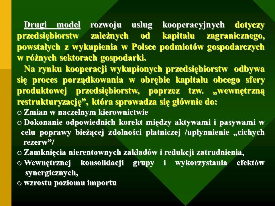 Drugi model rozwoju usług kooperacyjnych dotyczy przedsiębiorstw zależnych od kapitału zagranicznego, powstałych z wykupienia w Polsce podmiotów gospodarczych w różnych sektorach gospodarki.