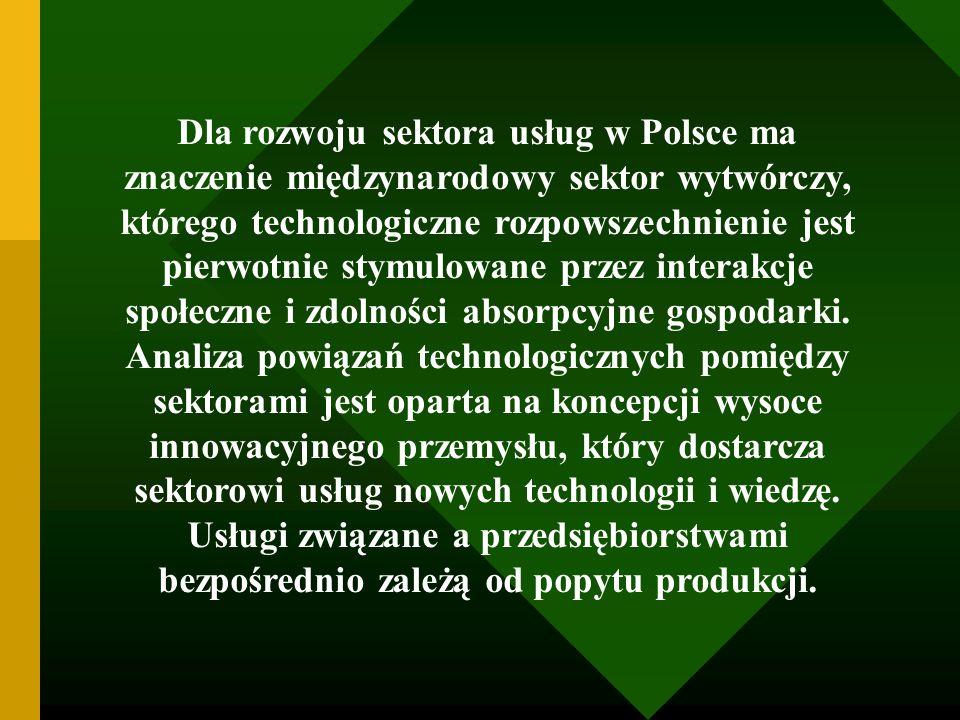 Dla rozwoju sektora usług w Polsce ma znaczenie międzynarodowy sektor wytwórczy, którego technologiczne rozpowszechnienie jest pierwotnie stymulowane przez interakcje społeczne i zdolności absorpcyjne gospodarki.