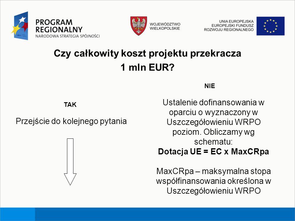 Czy całkowity koszt projektu przekracza Dotacja UE = EC x MaxCRpa