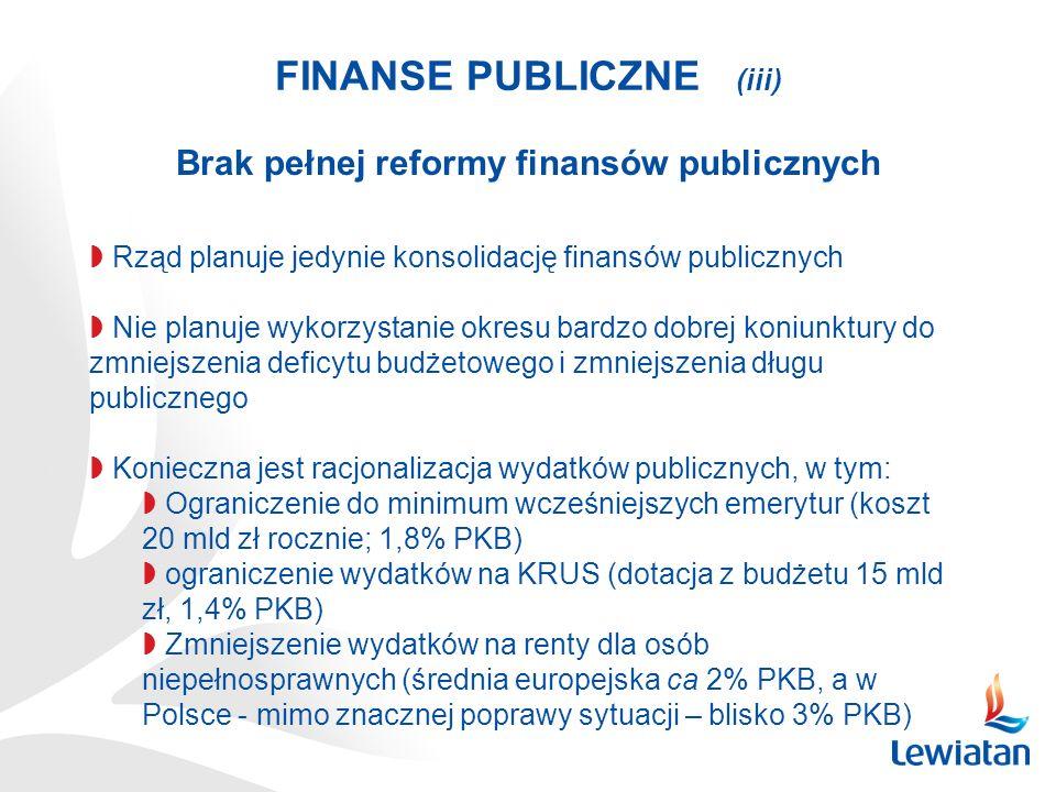 FINANSE PUBLICZNE (iii) Brak pełnej reformy finansów publicznych