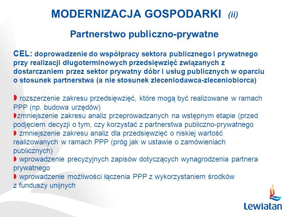 MODERNIZACJA GOSPODARKI (ii) Partnerstwo publiczno-prywatne