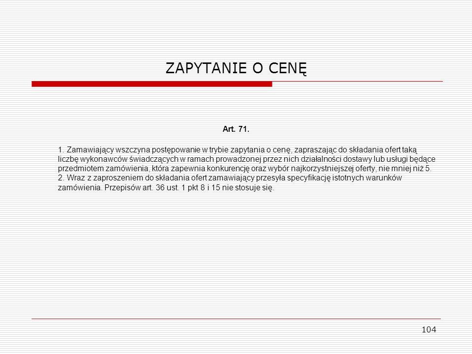 ZAPYTANIE O CENĘ Art. 71.