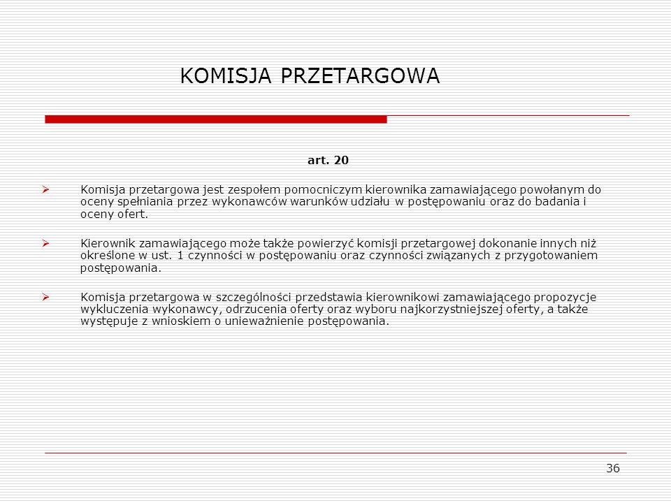 KOMISJA PRZETARGOWA art. 20