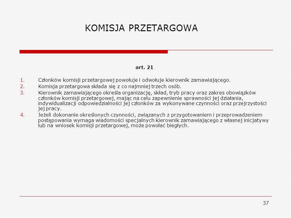 KOMISJA PRZETARGOWA art. 21