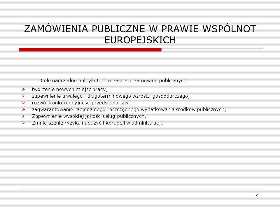 ZAMÓWIENIA PUBLICZNE W PRAWIE WSPÓLNOT EUROPEJSKICH