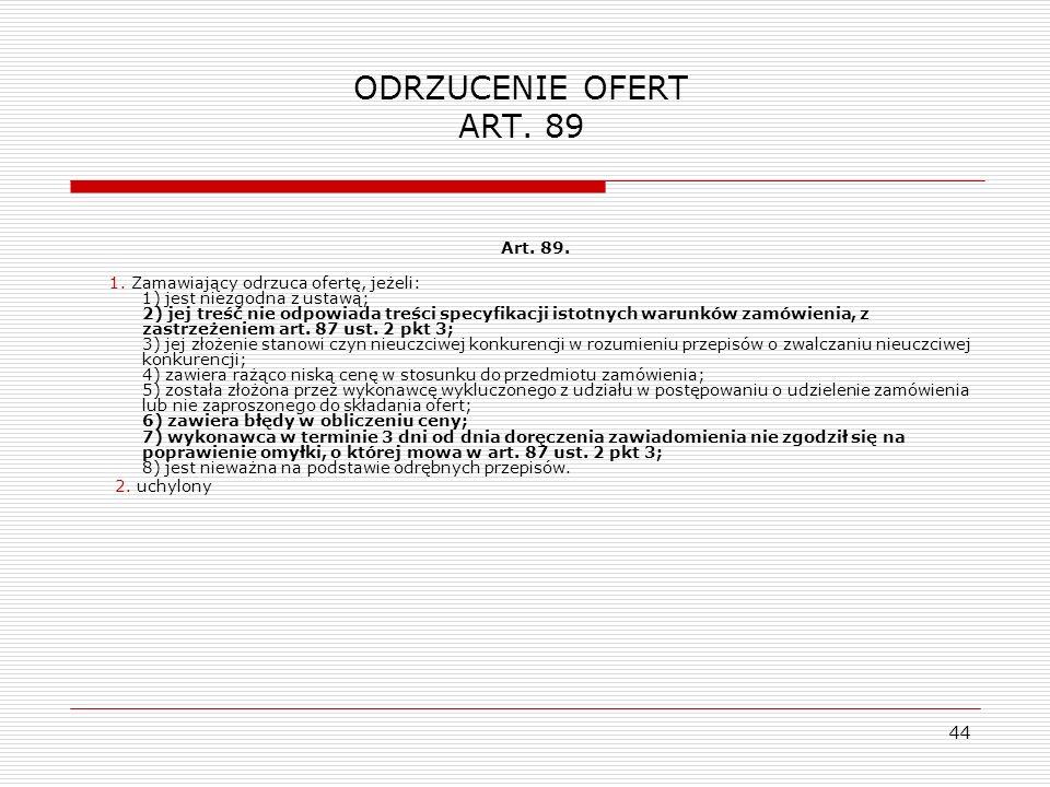 ODRZUCENIE OFERT ART. 89 Art. 89.