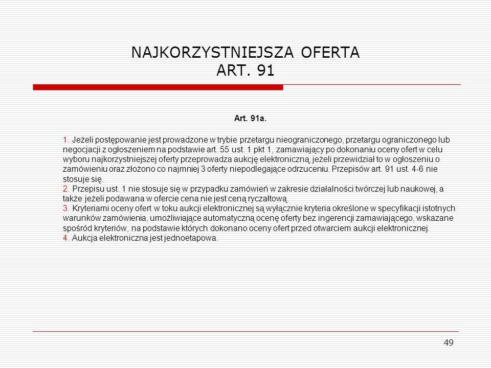 NAJKORZYSTNIEJSZA OFERTA ART. 91