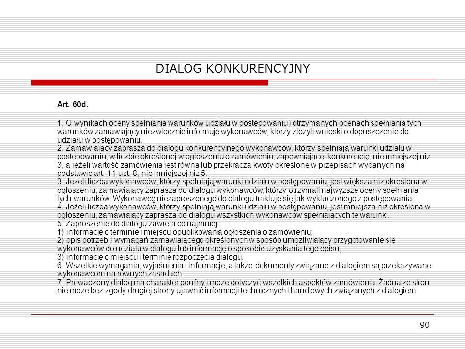 DIALOG KONKURENCYJNY Art. 60d.