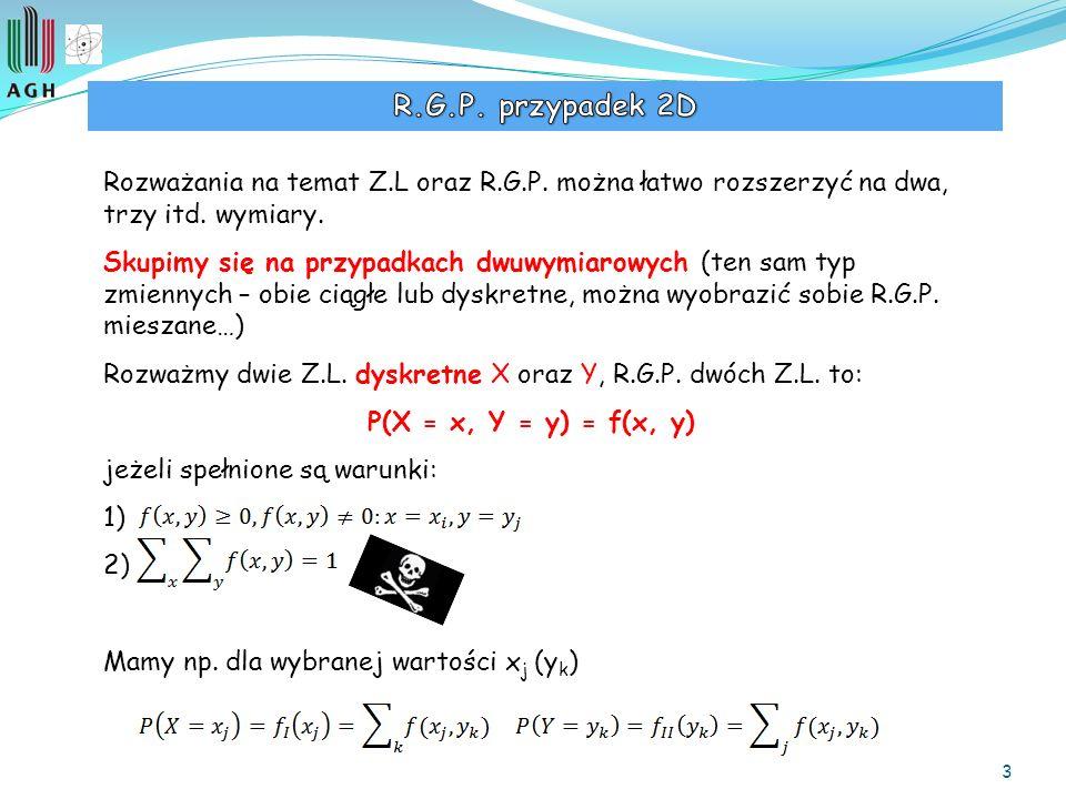 R.G.P. przypadek 2D Rozważania na temat Z.L oraz R.G.P. można łatwo rozszerzyć na dwa, trzy itd. wymiary.