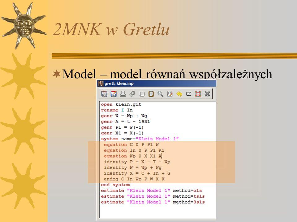 2MNK w Gretlu Model – model równań współzależnych