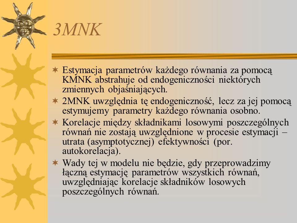 3MNK Estymacja parametrów każdego równania za pomocą KMNK abstrahuje od endogeniczności niektórych zmiennych objaśniających.