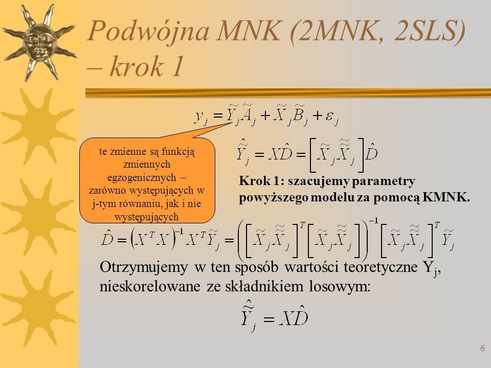 Podwójna MNK (2MNK, 2SLS) – krok 1