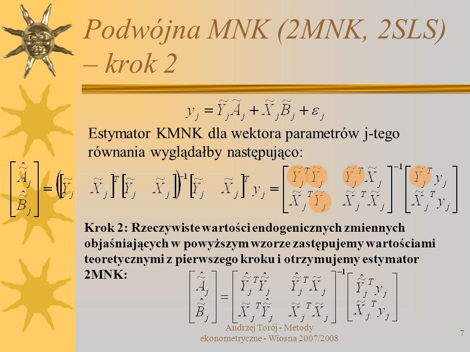 Podwójna MNK (2MNK, 2SLS) – krok 2