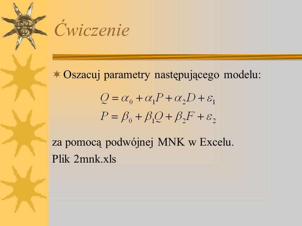 Ćwiczenie Oszacuj parametry następującego modelu: