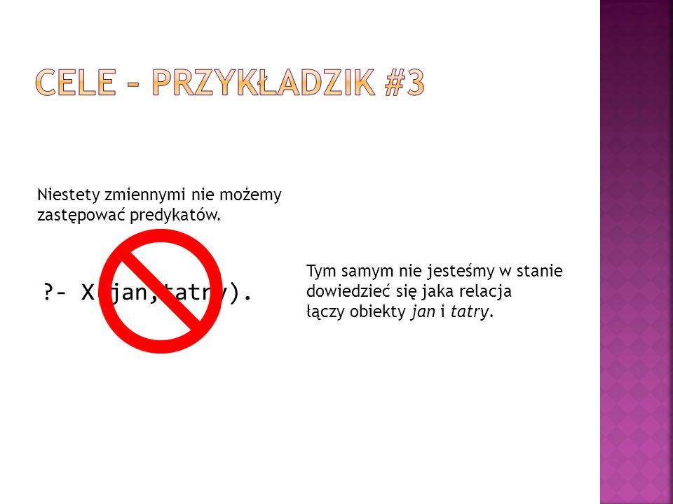 Cele – przykładzik #3 - X(jan,tatry).