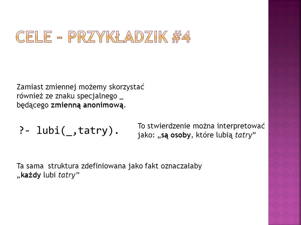Cele – przykładzik #4 - lubi(_,tatry).