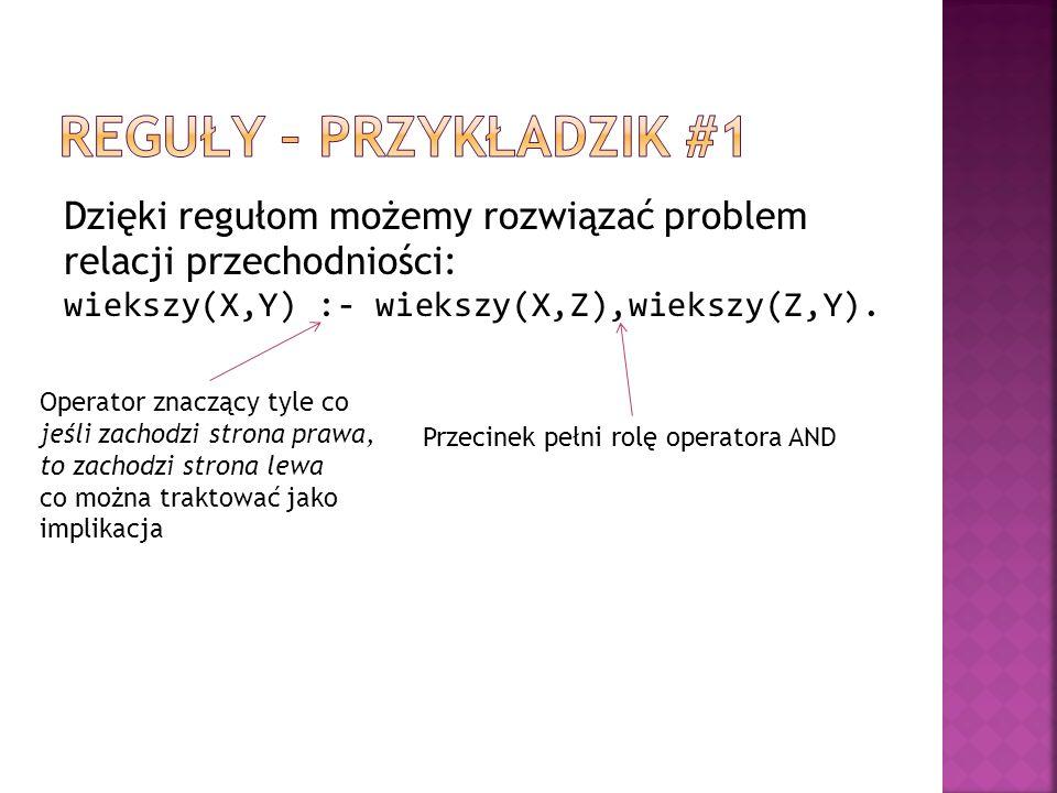 Reguły – Przykładzik #1 Dzięki regułom możemy rozwiązać problem relacji przechodniości: wiekszy(X,Y) :- wiekszy(X,Z),wiekszy(Z,Y).